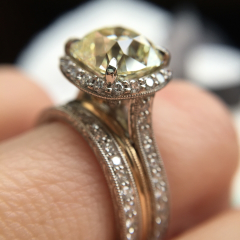 Vintage-style diamond engagement ring - Image by cjchumphries