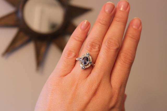 Antique Inspired Sapphire Halo Ring
