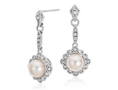 Vintage-Inspired Freshwater Cultured Pearl Earrings in Sterling Silver (6mm) by Blue Nile