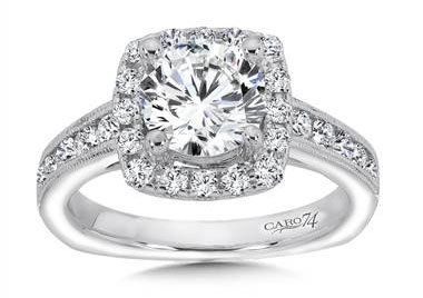CR257W - Inspired Vintage Collection Halo Engagement Ring in 14K White Gold with Platinum Head (0.68ct. tw.)