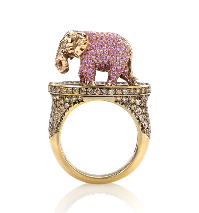 Pink Elephant & Tipsy Writer Maneater ring by Wendy Brandes