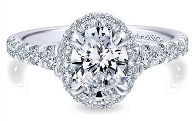 Gabriel & Co. 14k White Gold Diamond Halo Engagement Ring at Gabriel & Co.