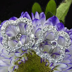 Whiteflash large clover diamond earring jackets in 18k white gold
