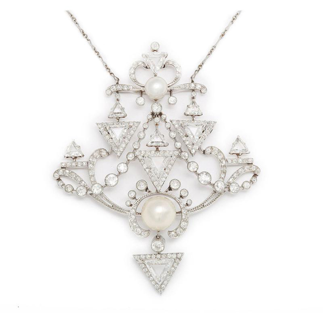 Natural pearl and diamond pendant, circa 1901, A La Vieille Russie