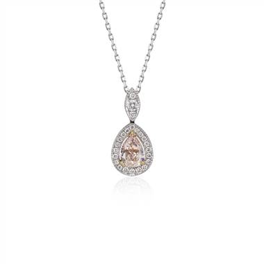 Fancy Light Brown-Pink Pear Diamond Halo Pendant in 18k White Gold