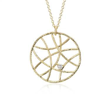 Woven Diamond Circle Pendant in 14k Yellow Gold at Blue Nile
