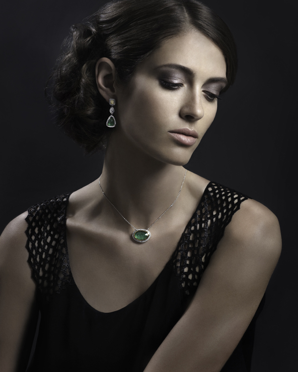 Yael Designs Serendipity Collection - Rose-cut emerald and diamond necklace and earrings