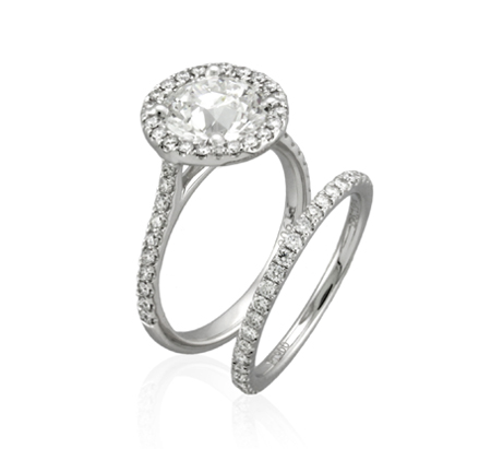 Yael Novelique Halo Diamond Engagement Ring and Wedding Band
