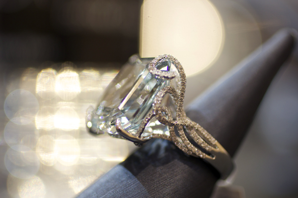 Yael Designs Lyra Collection 23.75 carat natural blue topaz and diamond ring