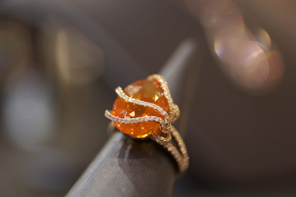 Yael Designs Lyra Collection fire opal and diamond ring