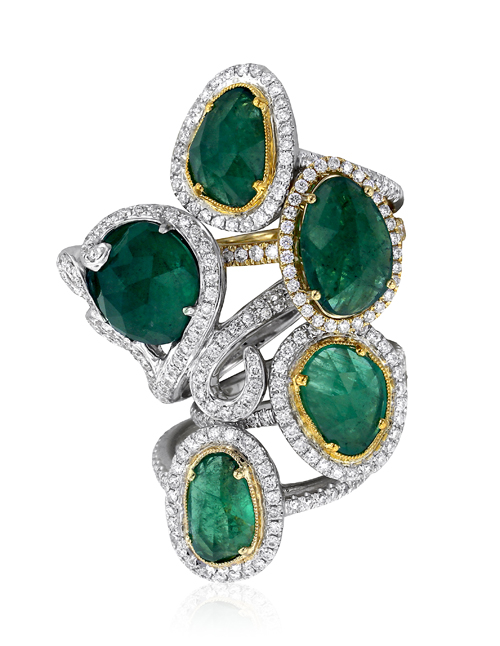 Yael Designs Serendipity Collection - Rose-cut emerald and diamond rings