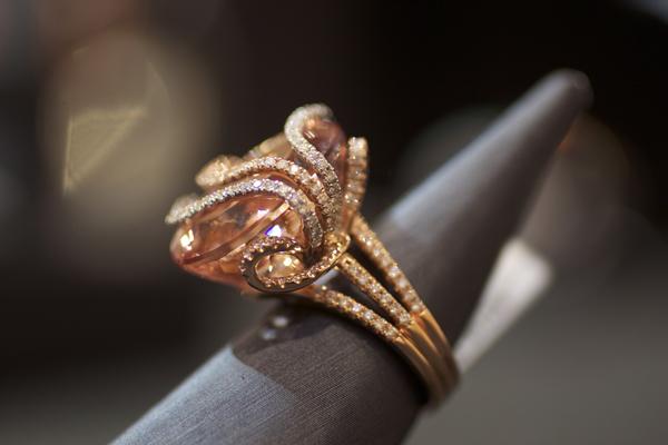 Yael Designs Lyra Collection 25.73-carat morganite and diamond ring