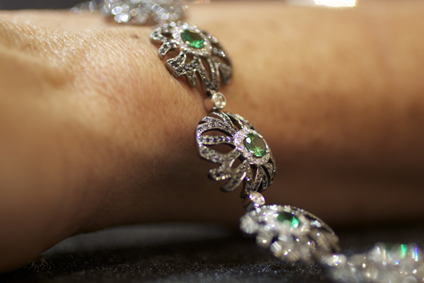Yael Designs tsavorite garnet and black diamond bracelet