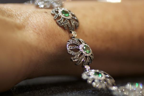 Yael Designs tsavorite garnet and black diamond bracelet