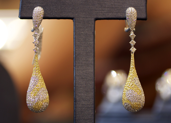 Yael Designs pavé diamond earrings with over 1,000 yellow and colorless diamonds