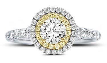 Yellow and White Diamond Double Halo Setting at Adiamor