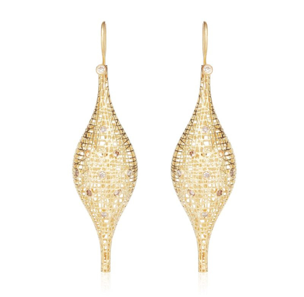 Yossi Harari Lace collection earrings in 18k yellow gold