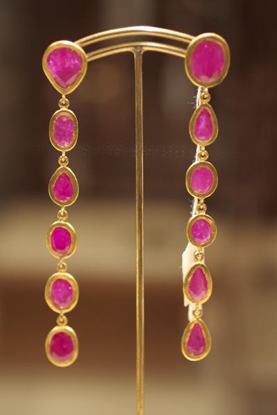 Yossi Harari Ruby Earrings in 24k Gold