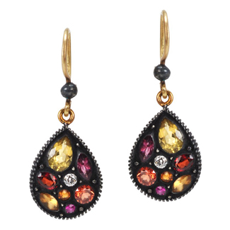 Yossi Harari multi-colored sapphire mosaic earrings