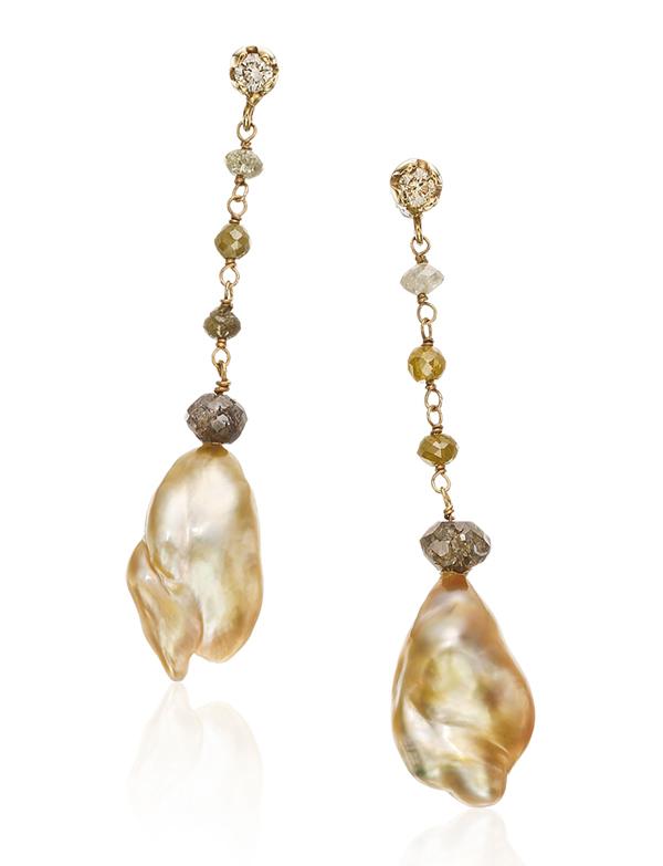 Yvel's golden keshi pearl and rough diamond earrings