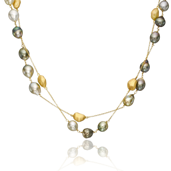 Tahitian pearl & gold nugget long necklace by Yvel