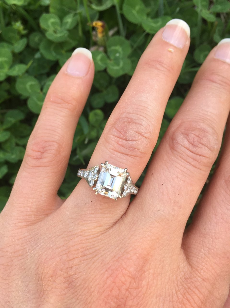 Almost-there's 2.5 emerald cut diamond vintage ring hand shot