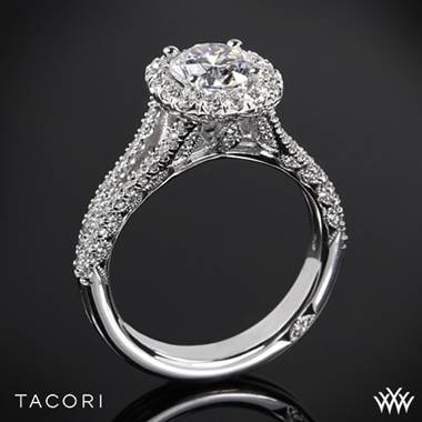 Split shank halo diamond engagement ring at Whiteflash