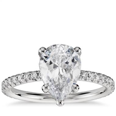 Stunning pear shaped diamond set in a petite French crown setting at Blue Nile