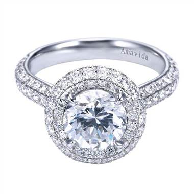 Halo 18K white gold setting at I.D. Jewelry