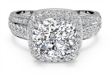 Masterwork cushion halo triple diamond band engagement ring at Ritani