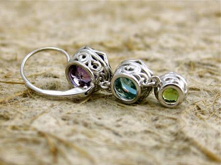 amethyst, blue zircon, and demantoid dangle earrings