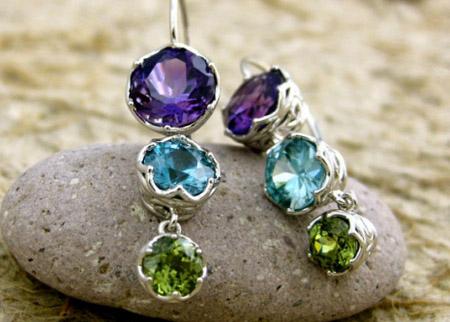 Amethyst Blue Zircon And Demantoid Dangle Earrings