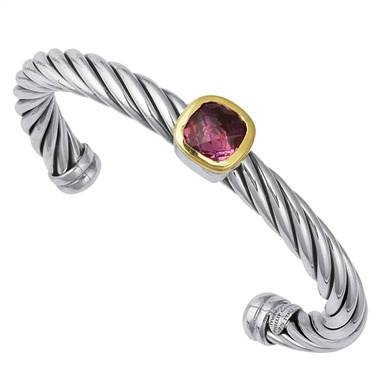 Sterling silver cuff bracelet with 18K yellow gold bezel-set amethyst at B2C Jewels