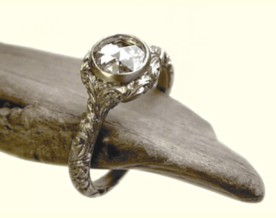 Anaconda rose cut diamond ring