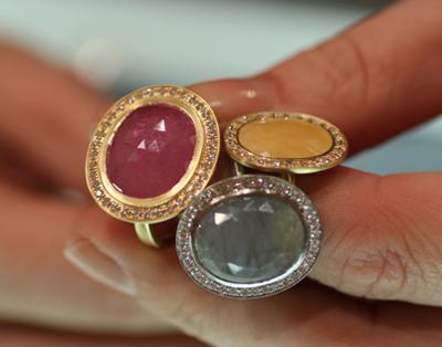 Anne Sportun multi colored sapphire rose cut rings Couture 2011