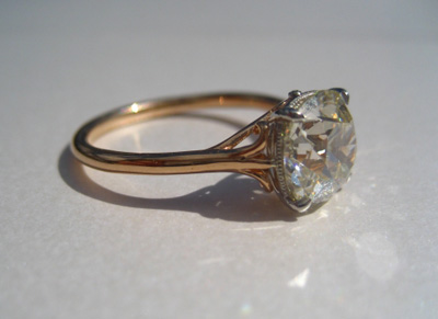 Cushion Cut Diamond Ring side shot
