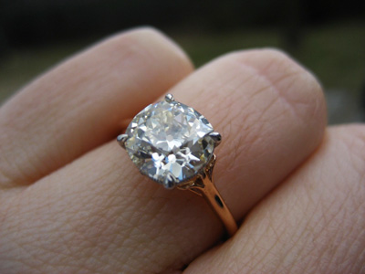 Jewel Of The Week Antique Cushion Cut Diamond Ring