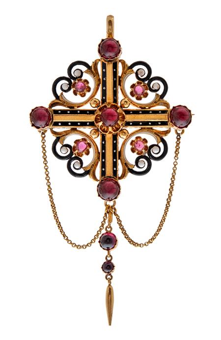 Victorian garnet brooch/pendant from Fourtane  at 1stdibs