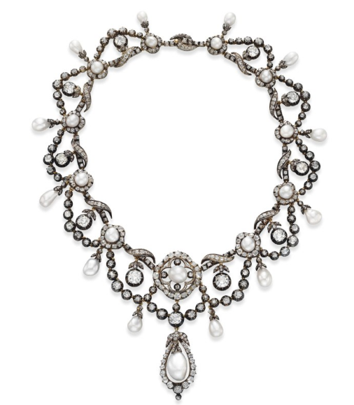 Elizabeth Taylor Auction - Antique Natural Pearl and Diamond Necklace