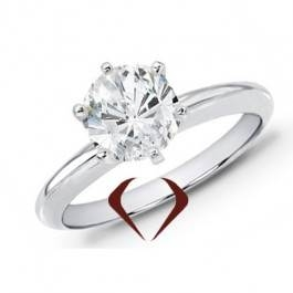Round diamond solitaire ring set in 14K white gold at I. D. Jewelry