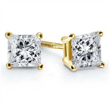 Prong set princess diamond stud earrings set in 14K yellow gold at B2C Jewels