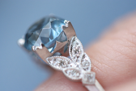 Aquamarine Diamond Ring Profile