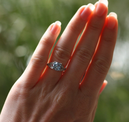 Aquamarine Diamond Ring on the Hand