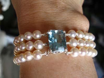 Princess Diana style pearl aquamarine bracelet