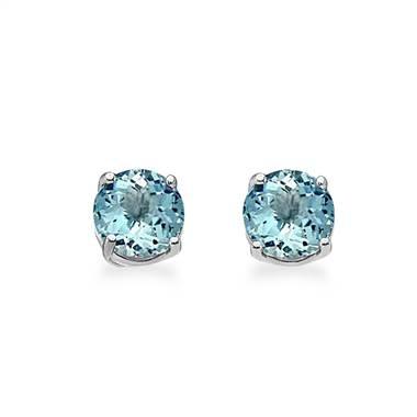 Aquamarine stud earrings set in 14K white gold at B2C Jewels
