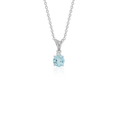 Aquamarine and diamond solitaire pendant set in 18K white gold at Blue Nile