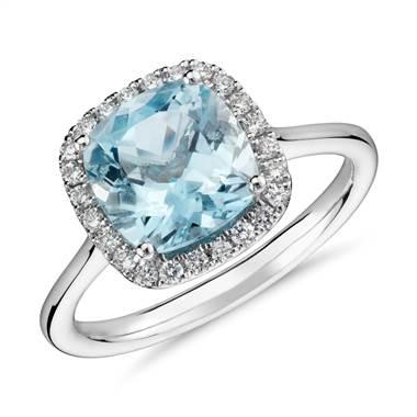 Aquamarine and diamond halo ring set in 14K white gold at Blue Nile