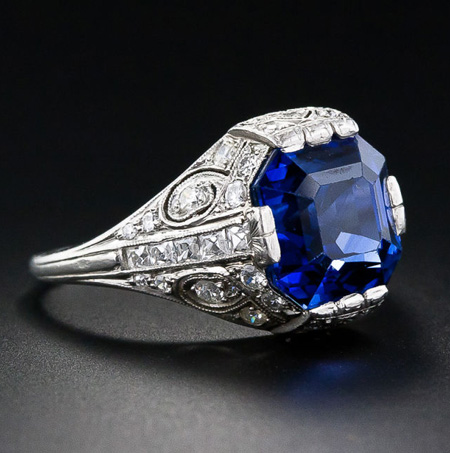 Art Deco Tiffany & Co. sapphire and diamond ring from Lang Antiques