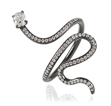 Arunashi diamond pavé snake ring • Marissa Collections