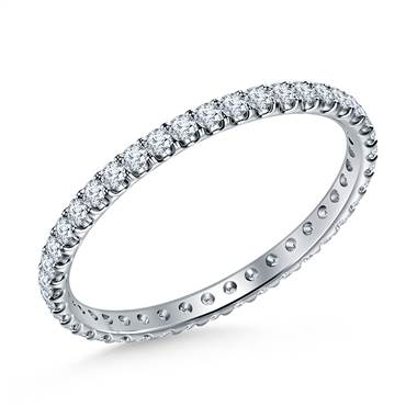 I'm in favor of the thin eternity band, but not sure my lifestyle will treat it well. Eternity diamond comfort fit band set in 14K white gold at B2C Jewels